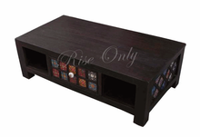 Rise only antique look black tile furniture living room coffee table with drawer and shelf