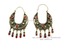 coral Inlaid tribal bellydance performance earrings afghan traditional ear jewelry on wholesale prices