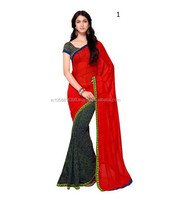 Fancy Printed Sarees,Georgette Printed Sarees half plain saree ,patli pallu saree