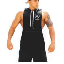 Round Neck Sportswear Blank mens gym stringer pullover tank tops hoodie hoody with hood