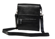 Black color real Leather small full flap messenger bag