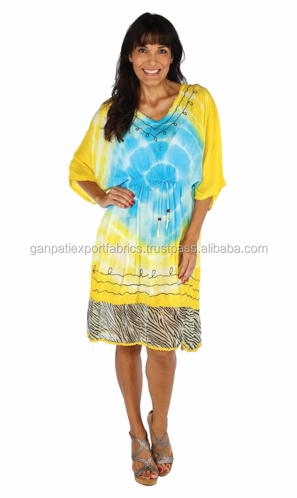 Funky Look Tie and Die Drawstring kaftan with animal print laced bottom