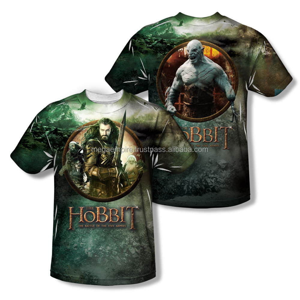 Custom Movie Character Hobbit Sublimated T-shirts / Customized Sublimated t-shirts / all over sublimation printing t-shirt at ME