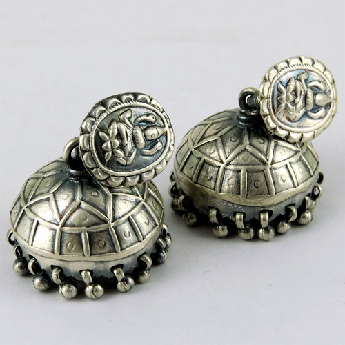 Victorian Style !! Oxidized Plain Silve 925 Sterling Silver Earring, Handcrafted Silver Jewelry, Streling Silver Jewelry