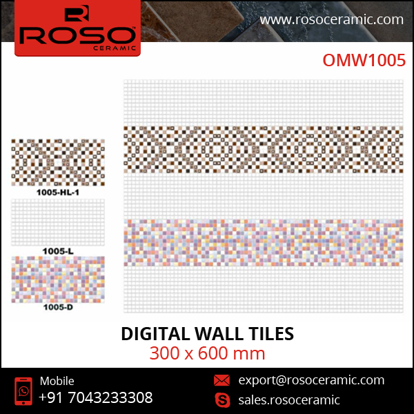 Designer Different Colored Digital Wall Tiles of Sleek Glossy Finish