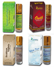 Combo Attar 4pcs (8ml Roll on free From Alcohol) Jannat-Ul- Firdous, Oudh, Arabian Night, White Dove Attar