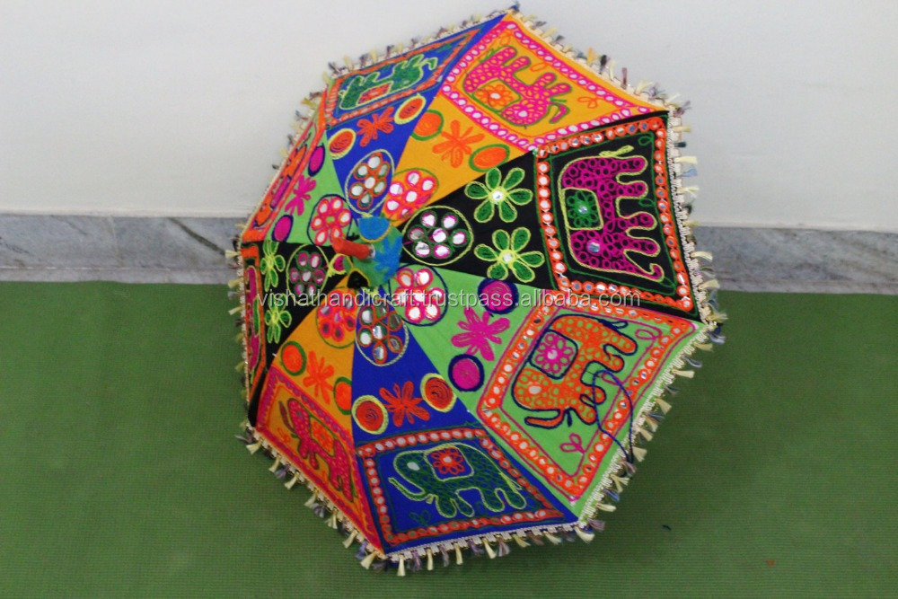 gift Elephant embroidery new year gift unique parasol ,decorative cotton ,hand stitched mirror work sun umbrella