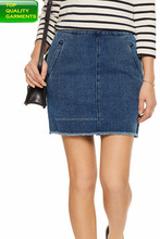 Mini Skirts back zipper fastening plain dyed front side pockets pure denim mini perfect for girls ladies women OEM#1232221215