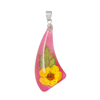 Resin Charm Pendants Horn-shaped Fuchsia Made With Real Flower Pattern 4.1cm x 17.0mm, 3 PCs