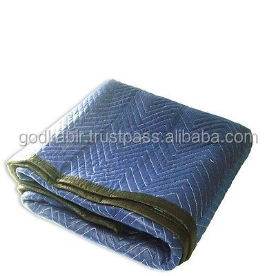 Latest and luxurious design wholesale Indian favorite choice Royal Blue Black Moving Blanket for home use.
