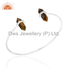 New Arrival Tiger Eye And CZ Gemstone Cuff Sterling Fine Silver Mens Bracelets Manufacturer of Indian Jewelry