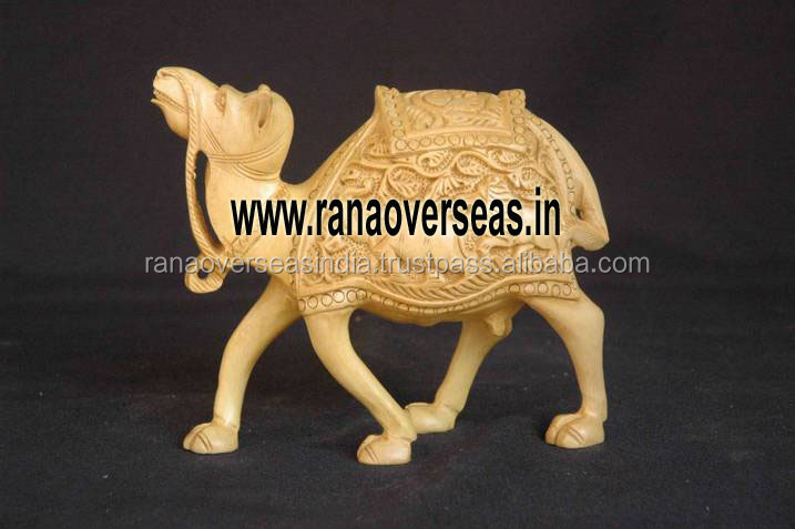 Wooden Carved Decorative Camel - Full Carving