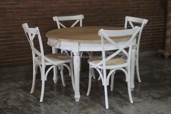 Furniture Shabby Chic - Sebago Round Dining Table Set Indonesia Furniture