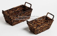 Set of 2 Woven Tabletop Trays with ear handles
