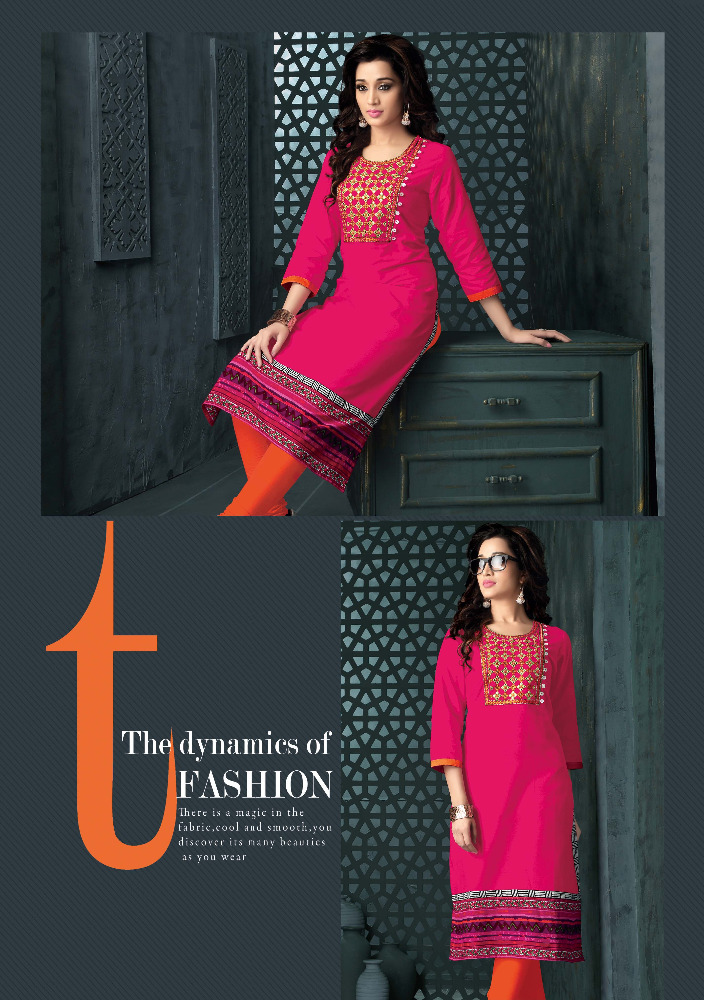 Beautiful Cotton Printed Partywear Kurti With Embroidery