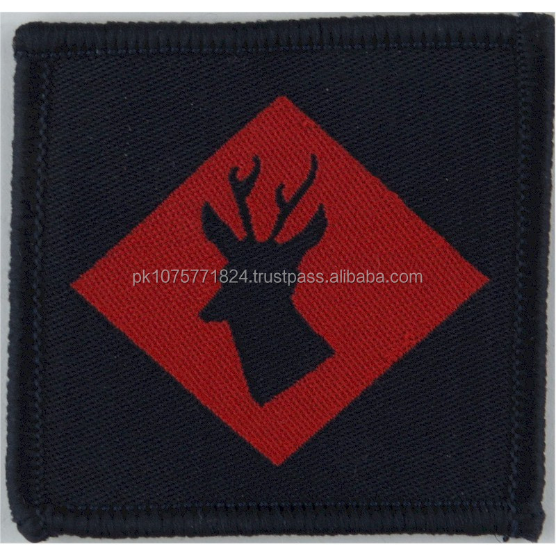 WOVEN BADGES 145 (Home Counties) Brigade Blue Stag's Head On Red On Blue Woven Formation arm badge