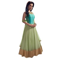 green cotton net short sleeve fancy dress