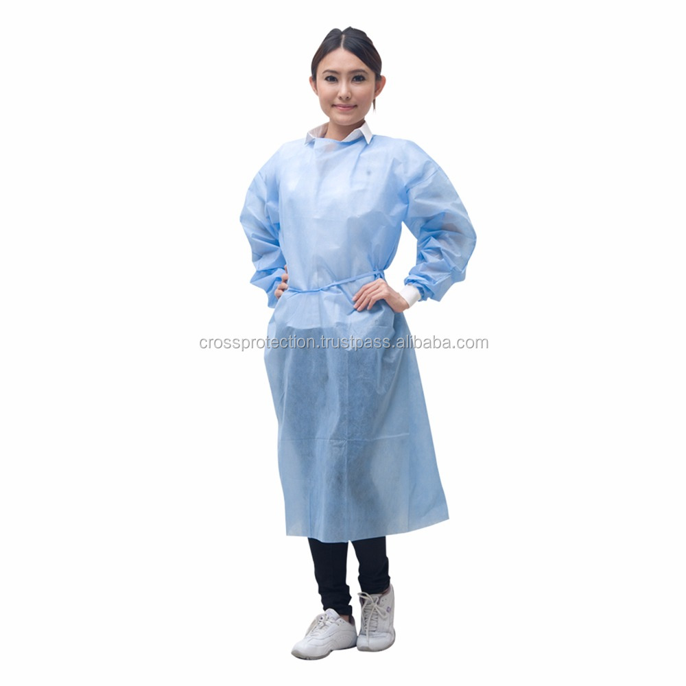 Premium Disposable SMS Medical PE Coated Isolation Gown with Knitted Cuff
