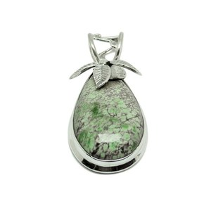 Exclusive Jewelry Versite Gemstone Bezel Leaf 925 Sterling Silver Pendant, Wholesale Supplier 925 Fashion Charm Jewelry
