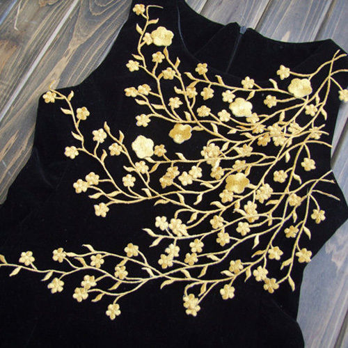 Gold Venice Lace Appliques Plum Blossom Embroidery. Korea fabric. Korea floral fabric. lace applique embroidery designs