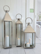 Set Of Three Stainless Steel Lantern, Metal Lantern, Shiny Polished Metal Lantern