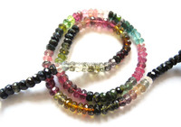 Good Quality Natural Multi Tourmaline 4-5.50mm Roundell Faceted Loose Beads Strands