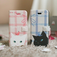 Cuite Cat Couple Diary Case for cell phone Pink, Blue 2 Colors White Cat, Black Cat