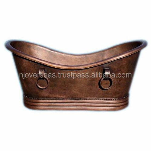 Hammered Copper Double Slipper Bathtub with Rings Oil Rubbed Bronze