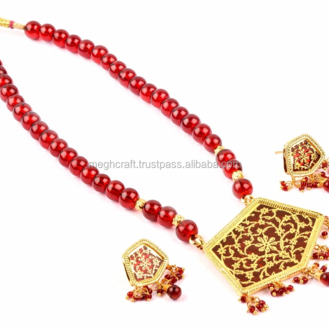 Thewa Necklace set - Designer Gold Plated Indian Handmade Thewa Art Jewellery - Wholesale thewa set -Party wear Costume Jewelry