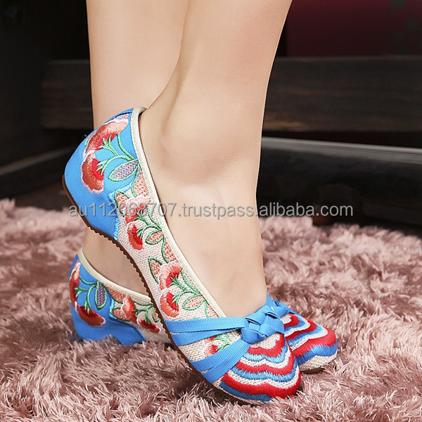 Classical Women's Shoes Old Peking Mary Jane Flat Heel Canvas Flats With Flower Embroidery Casual Dancing Shoes