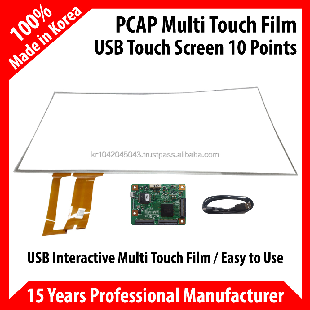 PCAP Multi 10points Touch Film Touch Foil 10.4 inch~65 inch USB type LCD Capacitive Touch Panel Interactive South Korea