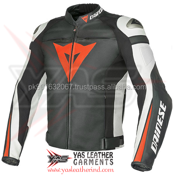 Top quality with armors motorcycle jacket >Super Rider Leather Motorcycle Jacket > Super Speed C2 Leather Jacket - Black / White