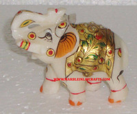 White Marble Elephant With Gold Painting , Marble Decorative Elephant
