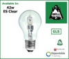 42w = 60w GLS ''Tough'' lamp Edison Screw Cap (ES) Clear (Bell 05211)