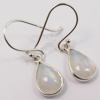 925 Solid Striling Sliver Genuine Blue Fire RAINBOW MOONSTONE Gemstones Girl's Small Pretty Earrings ! Wholesale Store India