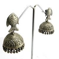 India Made Jhumka !! Oxidized Plain Silver 925 Sterling Silver Earring, Sterling Silver Jewelry, Silver Jhumka
