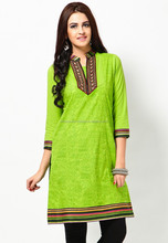 Green color women's cotton Indian Kurtis