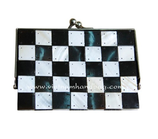 Chess board deco clutch with metal frame
