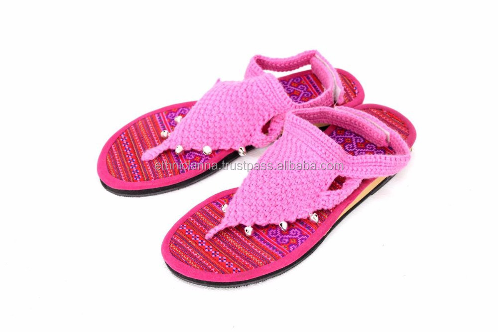 Pink Hmong Hill Tribe Crochet Sandals Thailand - Size 6