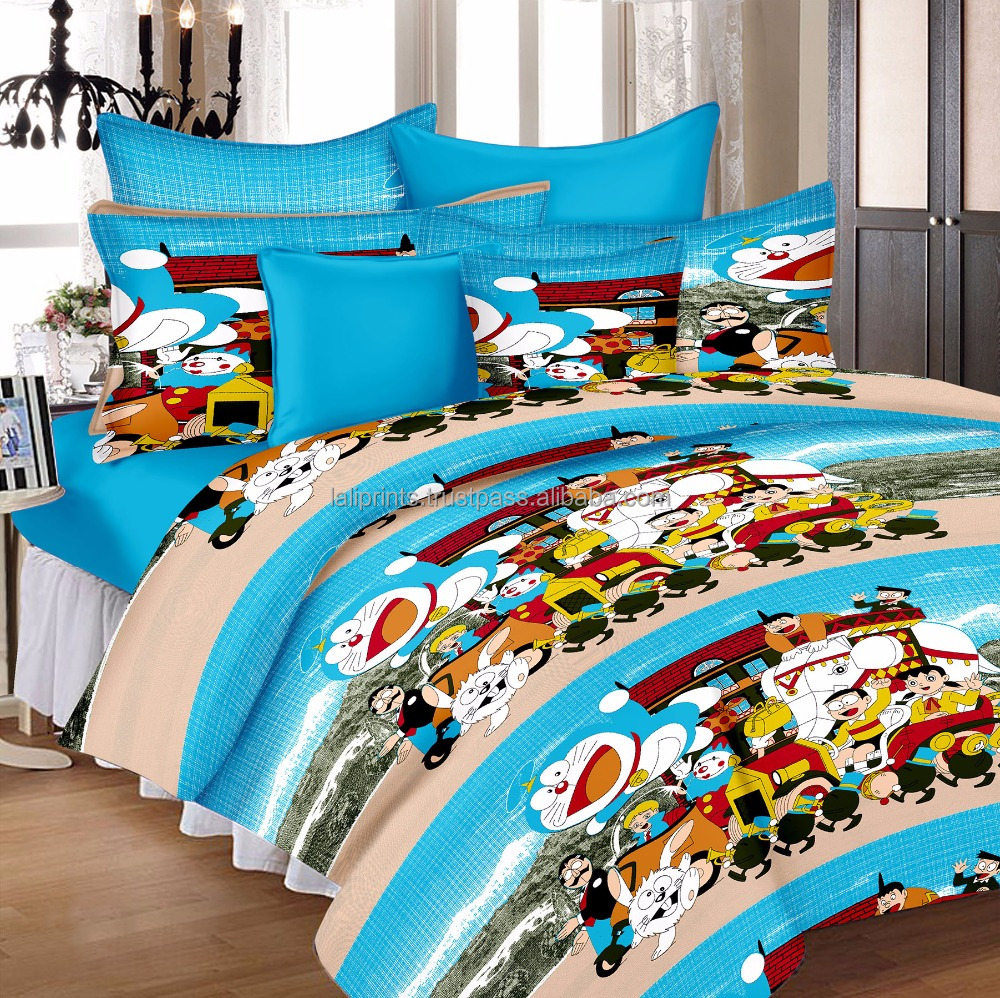 Lali Prints 100% Cotton Blue Doraemon Cartoon Deep Pocket 1 Flat Bedsheet, 1 Fitted Bedsheet, 2 Pillow Cover Bed Sheets Set Of 4