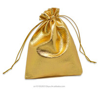 "Gold Tone Satin Gift Bags With Drawstring 12x9cm(4-3/4""x3-1/2""), sold per packet of 100"