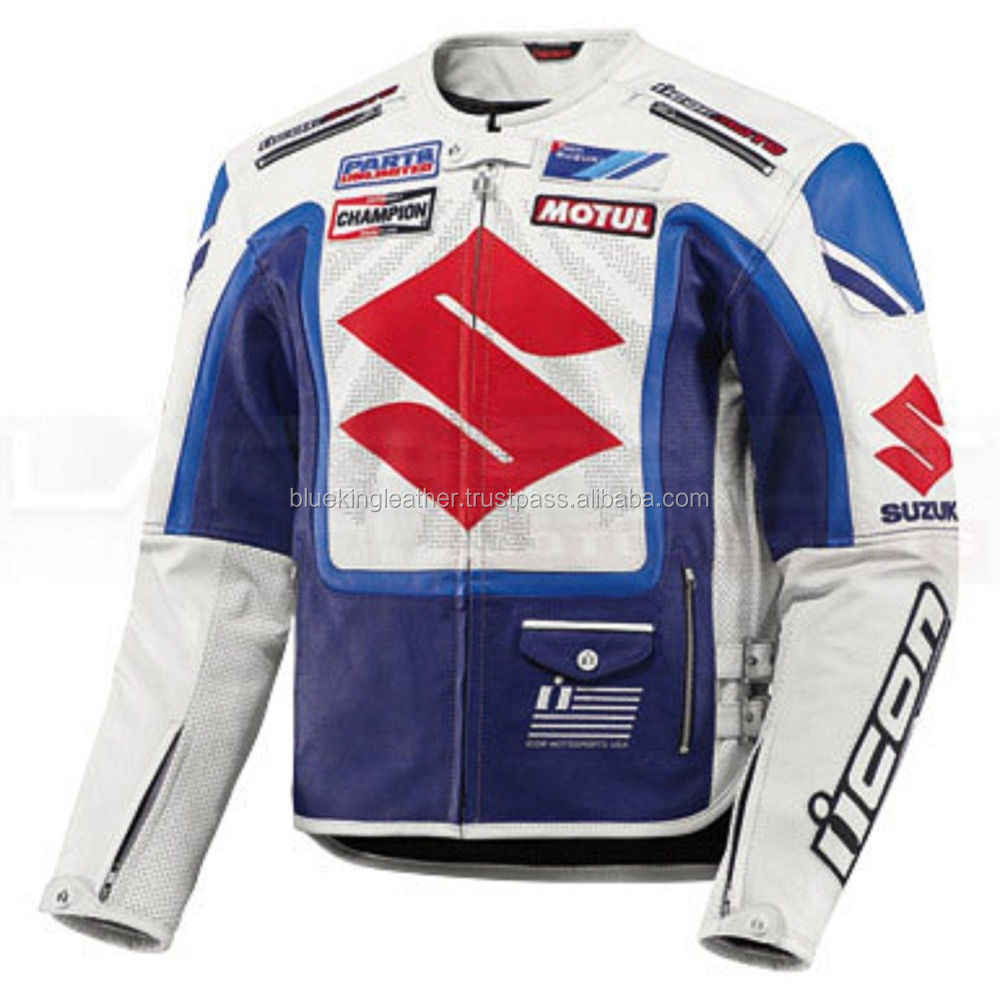 SUZUKI BLUE/WHITE MOTORBIKE LEATHER JACKET - CE APPROVED FULL PROTECTION