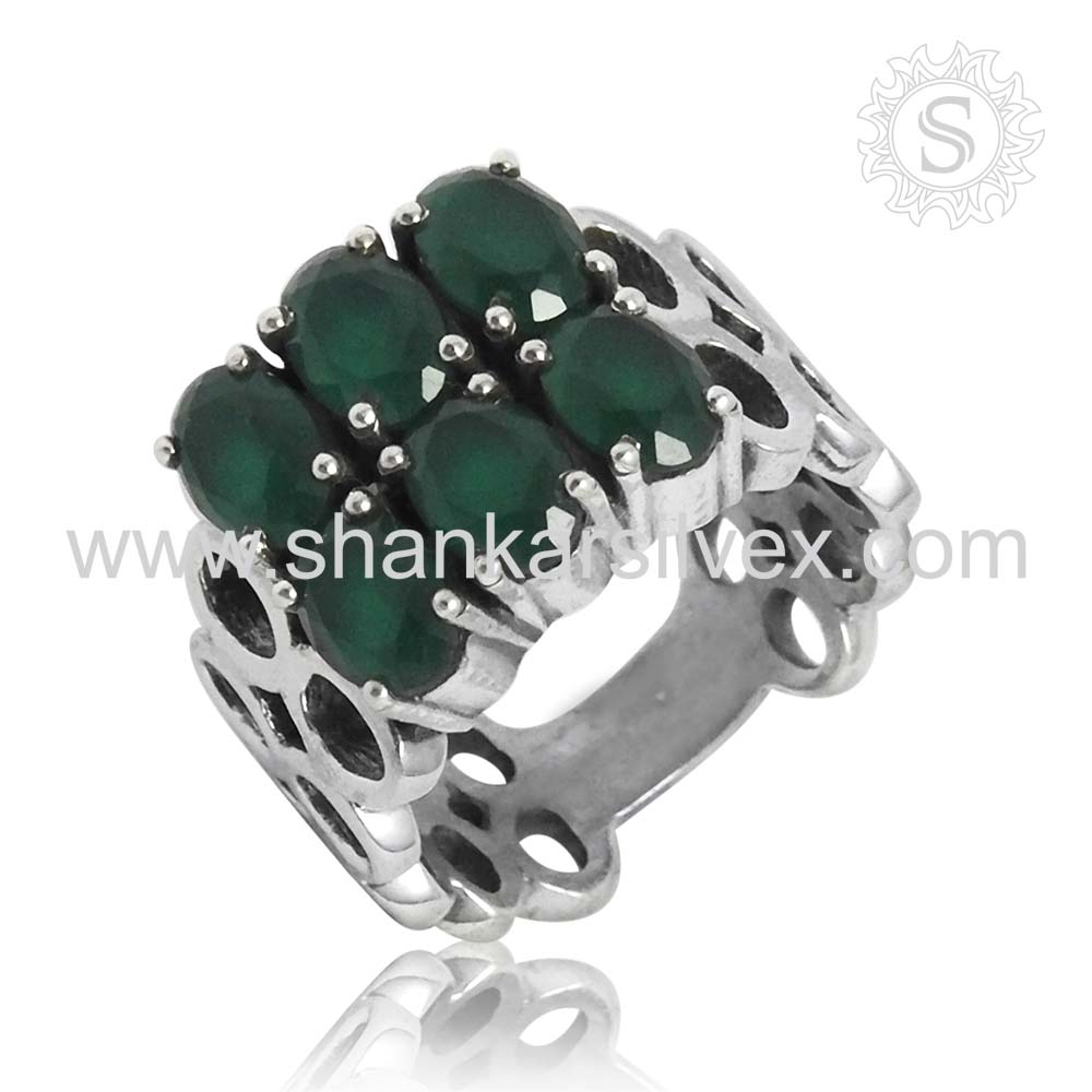 Brighten Green Onyx Prong Setting Ring 925 Sterling Silver Jewelry Ring Wholesaler Silver Jewelry Jaipur