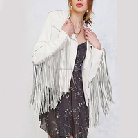 LUKE APPARELS- FACTORY DIRECT HOT SALE WOMEN REAL SHEEPSKIN MOTORCYCLE LEATHER JACKET SLIM FIT FRINGE WHITE LEATHER JACKET CHINA