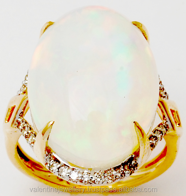 White Opal Pave Diamond Big Gemstone Ring