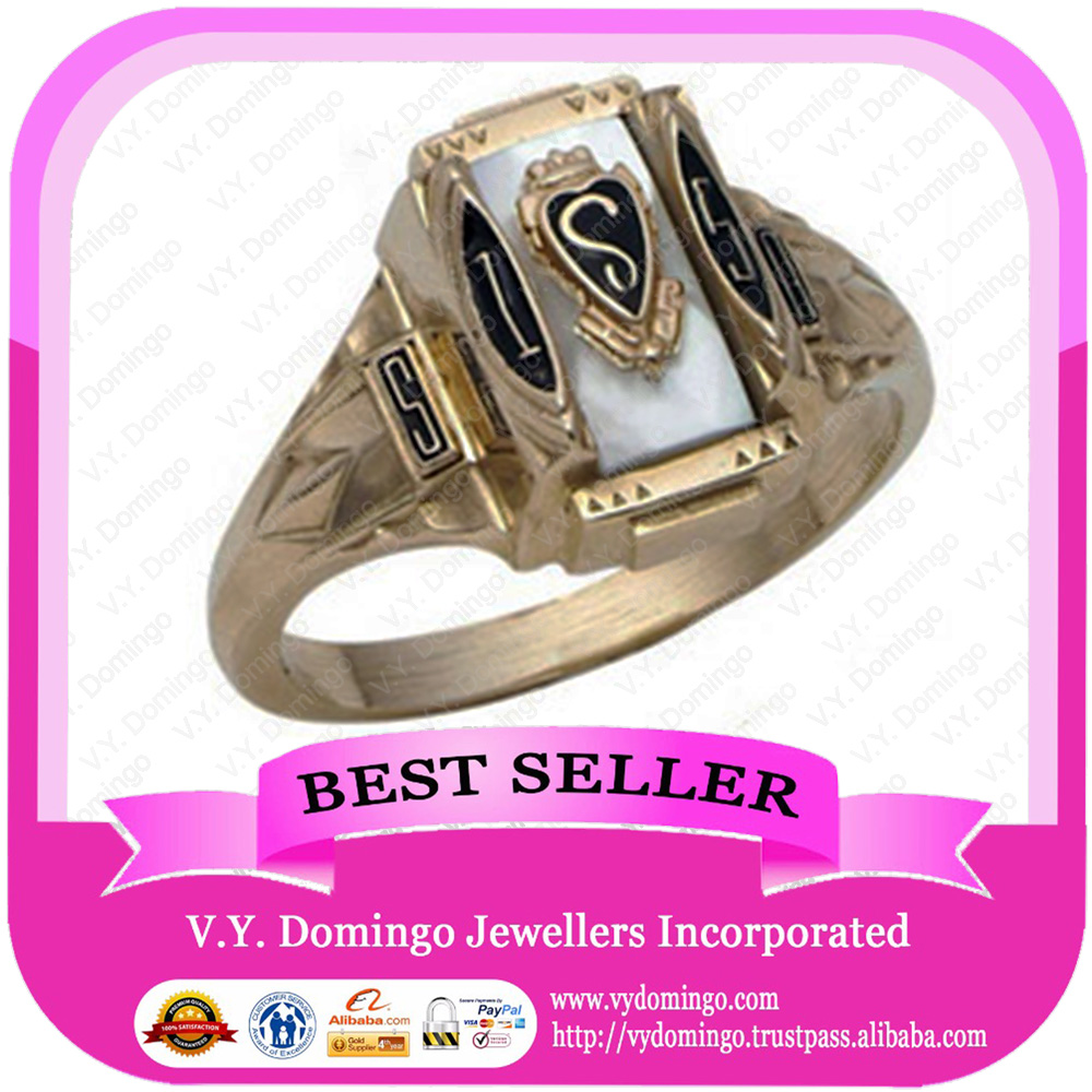 24karat Electroplated College Ring Custom Made Wholesale Class Ring