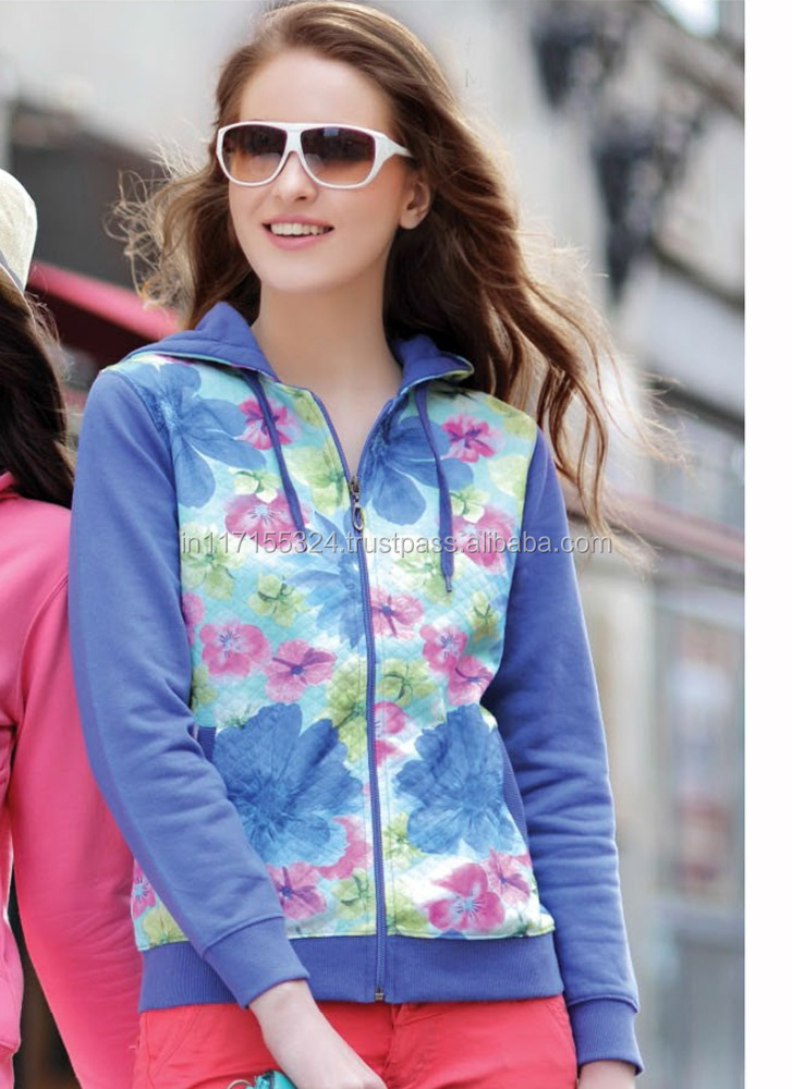Sweater-cashmere sweater-women blue color flower design hoodies sweater