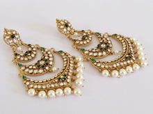 Oversize long Pakistani Bridal Gold plated CZ Stone Chandelier Earrings-Wholesale Traditional Indian Bridal Jewellery