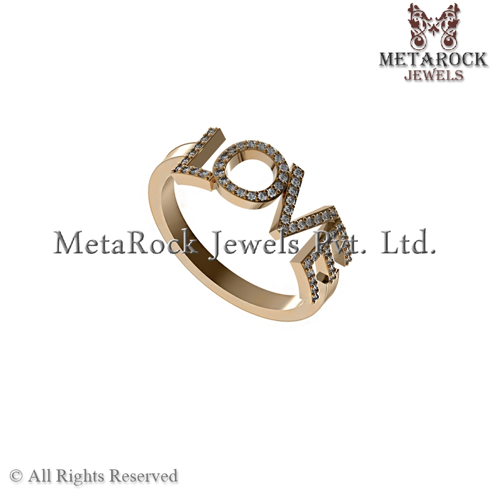 14k Yellow Gold Pave Diamond Love Sign Band Ring Fashion Jewelry Gift Jewellery Manufacturer