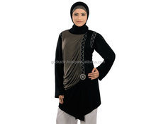 Vintage Full modern colour Burka./Best Decorative Pure Black Shine Abaya/Graceful Dual Color Jersey Tunic .